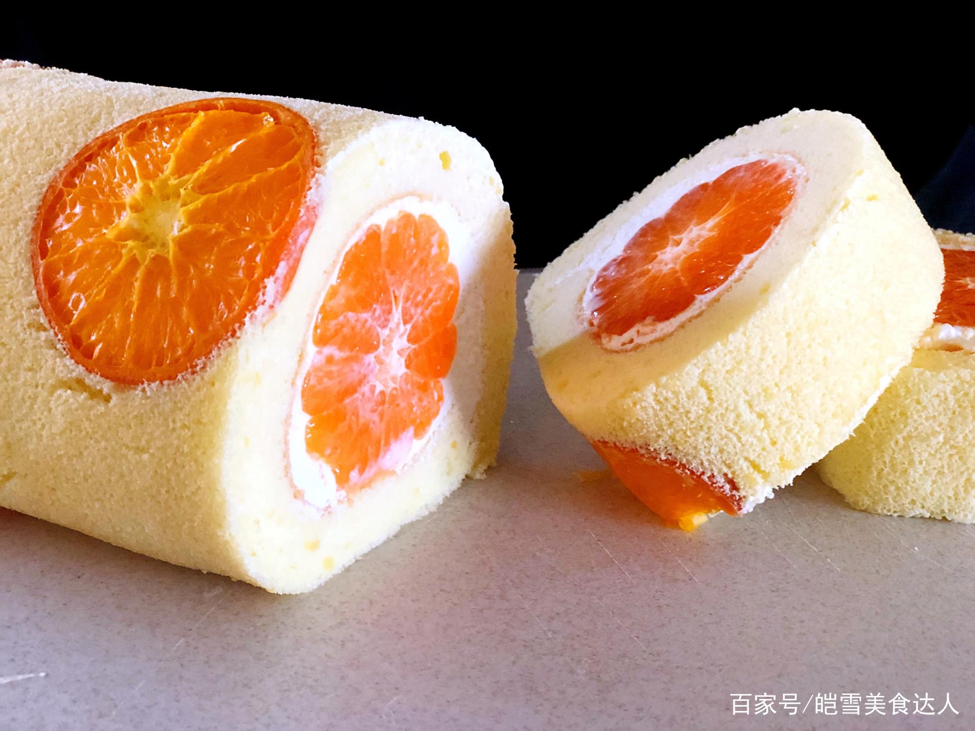 颜值与美味并存的~香橙蛋糕卷