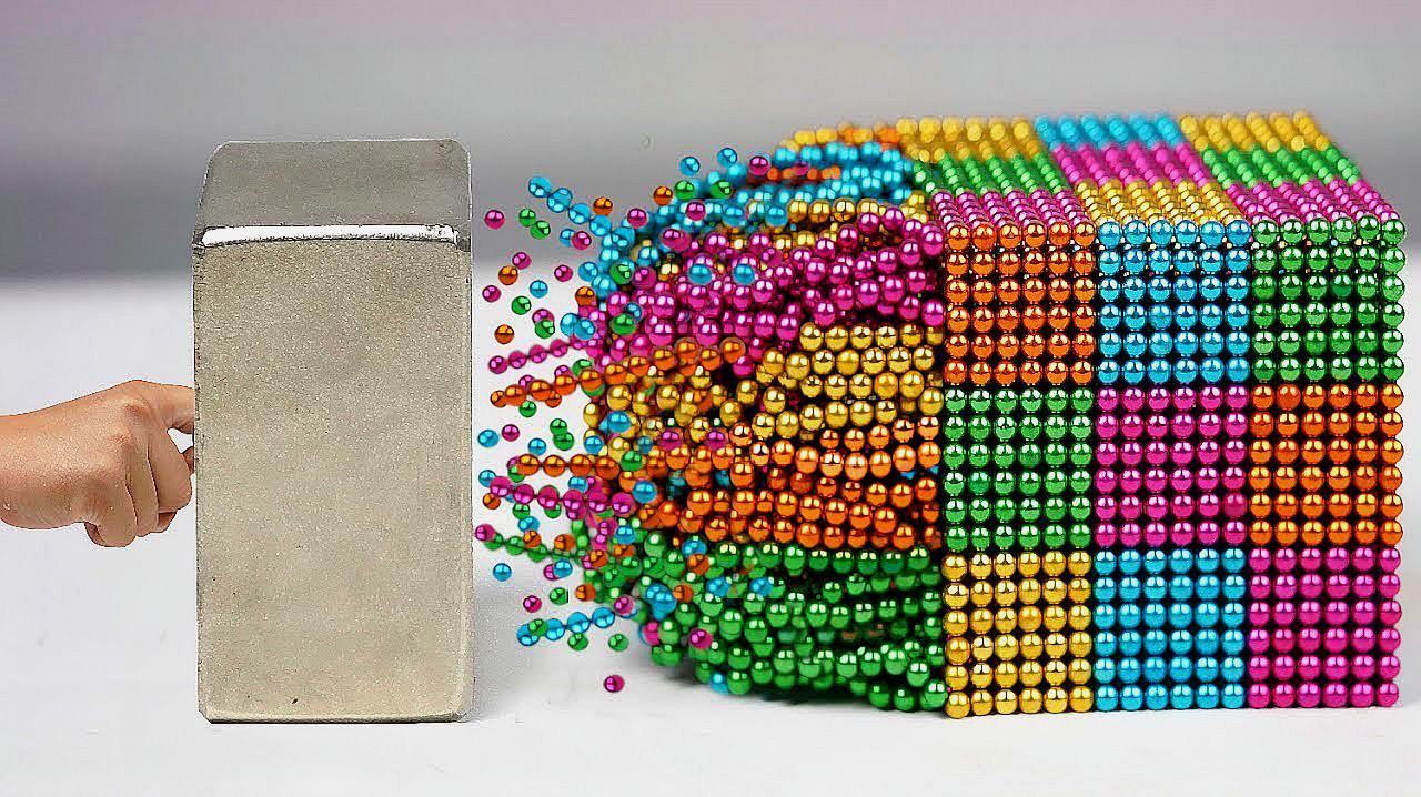 超强磁铁吸力有多强?老外拿出5000颗彩珠实验,结果超精彩!