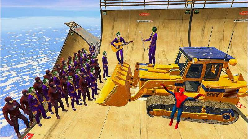 超人vs蜘蛛侠_闪电侠和小丑排成队伍,蜘蛛侠用推土机能全部推下去吗?_好看 ...