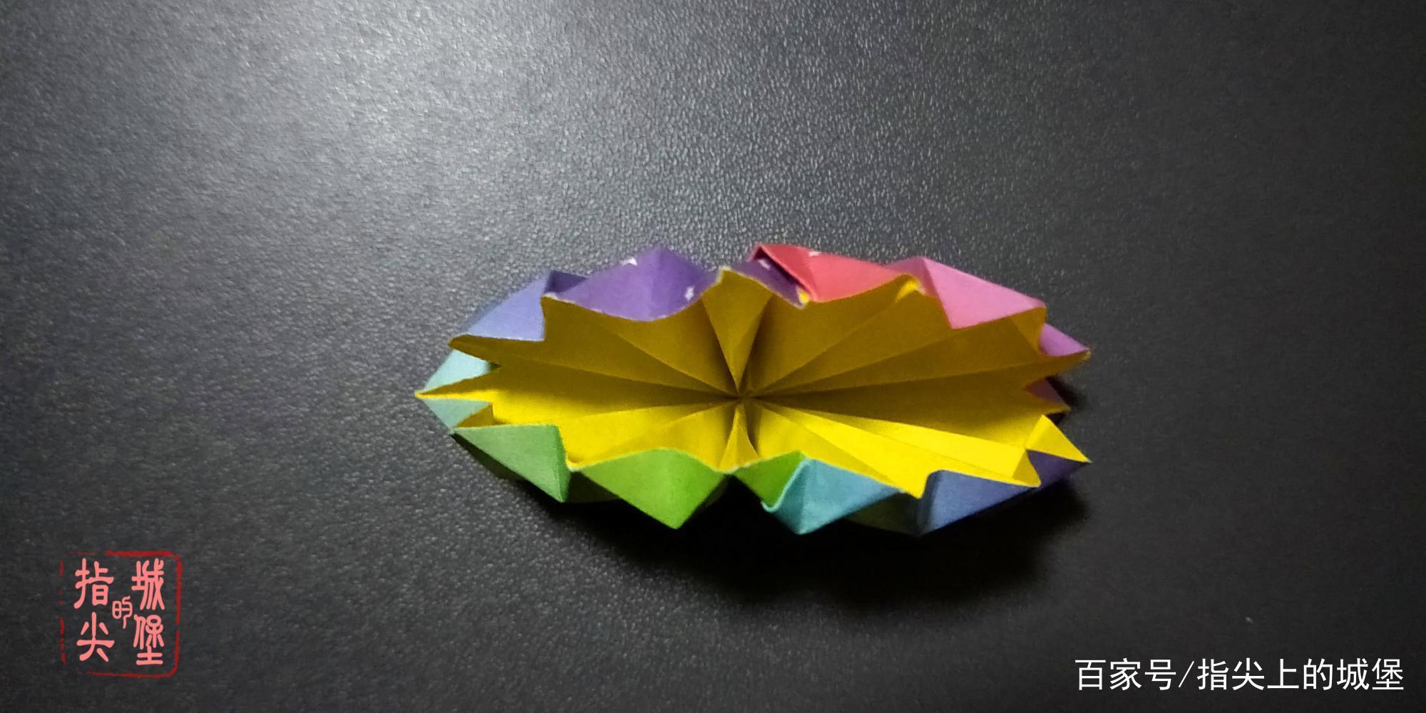 简单的折纸花,齿轮装饰花手工折纸,扇形花折纸