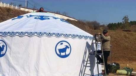 湖北应山某度假村蒙古包安装现场