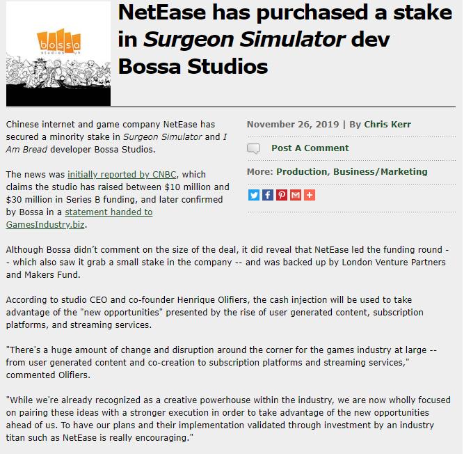 网易3000万美元入股《外科模拟》开发商Bossa 网易、游戏葡萄、Bossa 游戏资讯