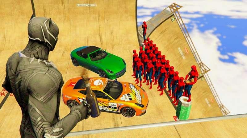 超人vs蜘蛛侠_GTA5:搞笑玩法,漫威蜘蛛侠vs黑豹国王和蜘蛛侠,画面够酸爽 ...