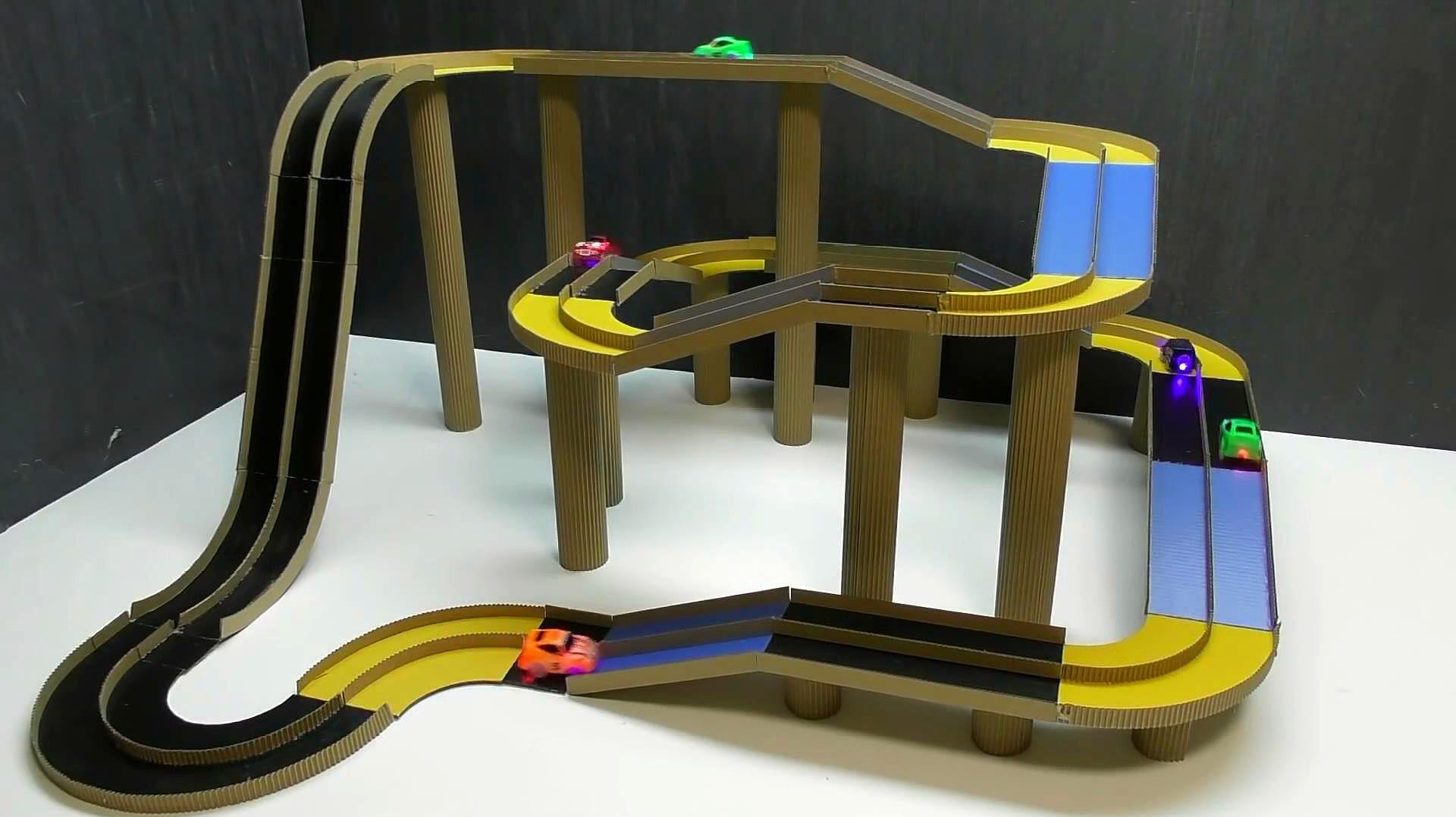 手工牛人教你用紙板製作賽車跑道,完成後送給小朋友們能玩一整天