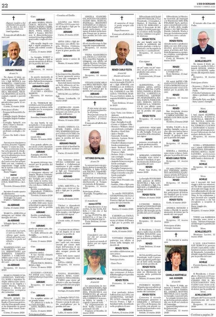 伦佐·卡洛·泰斯塔的讣告周五刊登在当地报纸《贝加莫报》上。