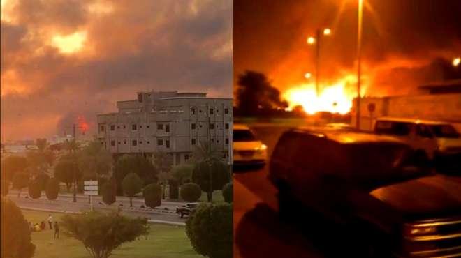 沙特石油设施遭无人机袭击现场浓烟滚滚 预计削减一半石油生产