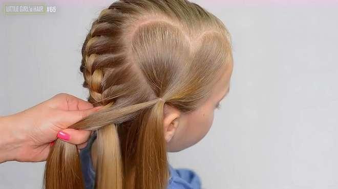浪漫唯美的女宝宝心形编发,学会这个美美哒发型过年给女儿梳吧!