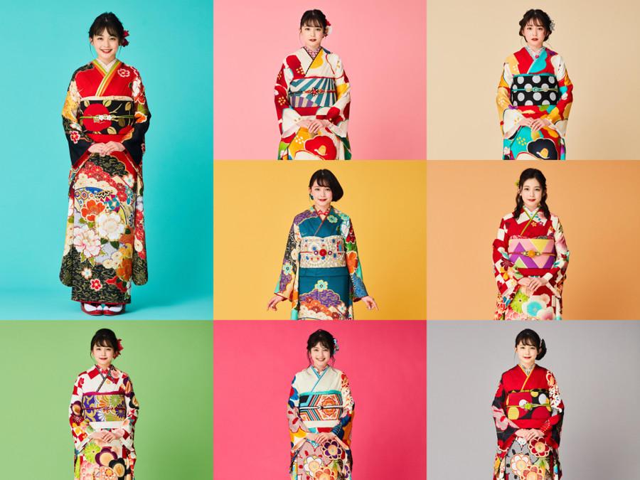 久间田琳加设计制作了8种振袖和服